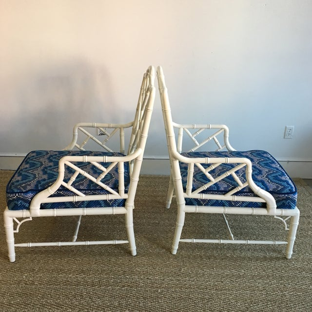 Vintage White Faux Bamboo Club Chairs - A Pair - Image 4 of 7