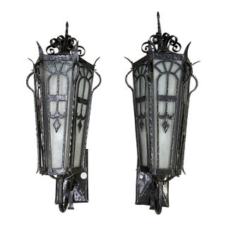 Original Spanish Revival / Gothic Masonic Temple Lights - a Pair For Sale