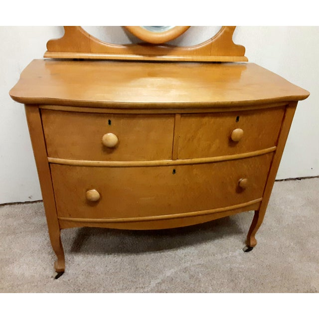 Early 20th Century Maple Vanity Dresser For Sale - Image 4 of 8