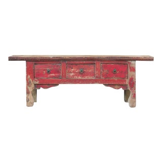 Rustic Red Tibetan Low Altar Console For Sale