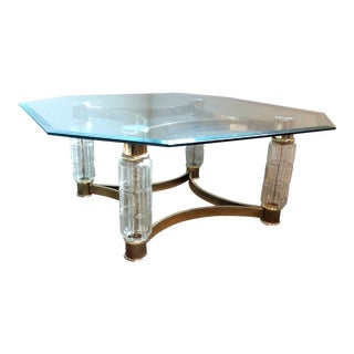 Art Nouveau Brass & Glass Coffee Table For Sale