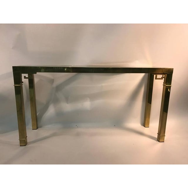 Italian ELEGANT ITALIAN SOLID BRASS CONSOLE TABLE WITH GREEK KEY DESIGN For Sale - Image 3 of 10
