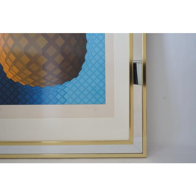 Vintage Vasarely Pencil Signed and Numbered Limited Edition 226/250 Op Art Original Print Custom Mirror Framed For Sale - Image 10 of 12