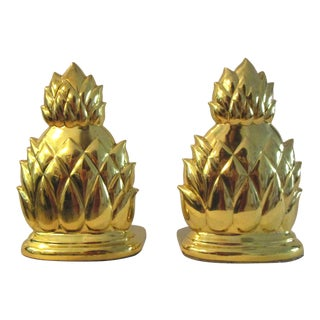 1980s Polished Brass Pineapple Bookends - a Pair For Sale