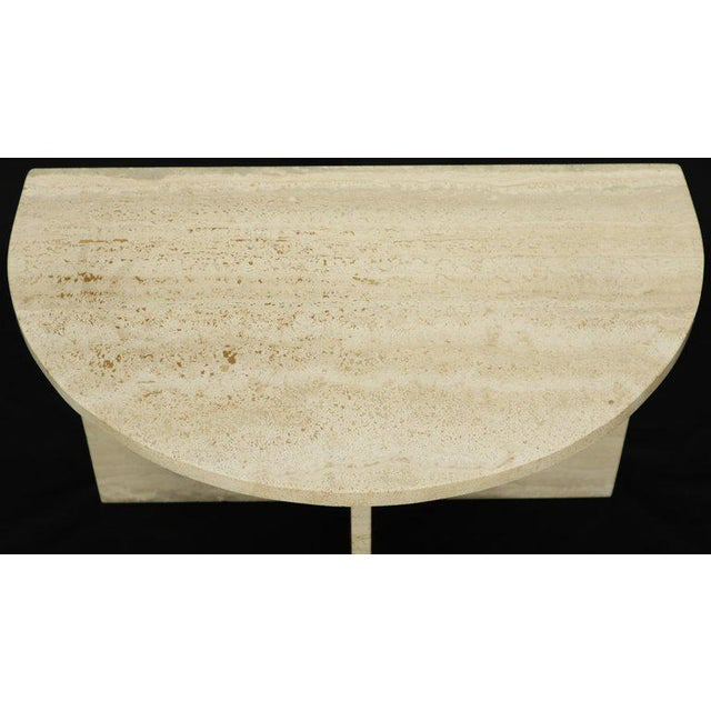 Brown Demilune Travertine Half Round Console Table For Sale - Image 8 of 12