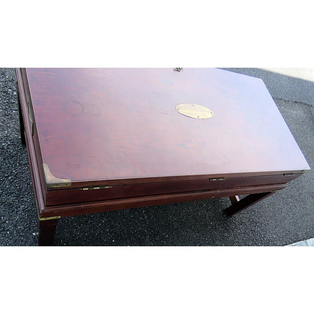 Gold Campaign Style Box on Stand For Sale - Image 8 of 10