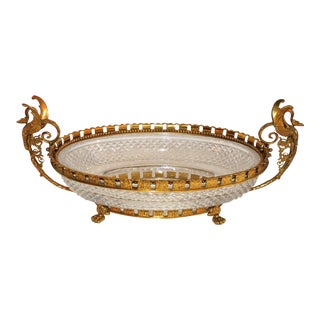1940's French Gilt Bronze Dore and Cut Crystal Swan-Handled Oval Centerpiece Bowl For Sale