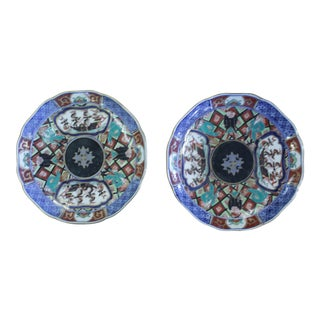 Blue Antique Japanese Imari Caricature Dishes - a Pair For Sale