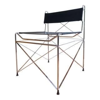 Mid Century Modernist Italian Chrome X Base Lounge Chair For Sale