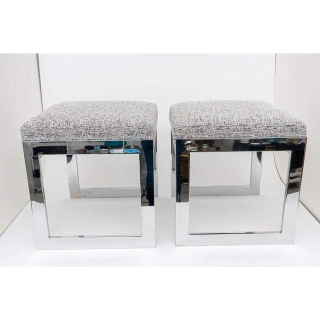This stylish set of Milo Baughman, flat-bar benches have been professionally nickel-plated (and lacquered) and upholstered...