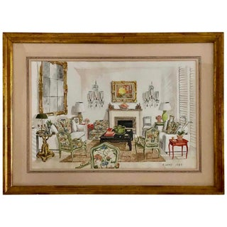 Interior Watercolor Illustration by Designer Richard Lowell Neas, 1983 For Sale