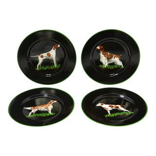 Tiffany & Co. Porcelain Decorative Plates With Hunting Dogs - Set of 4 For Sale