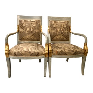Italian Mid-Century Empire Style Armchairs - a Pair For Sale