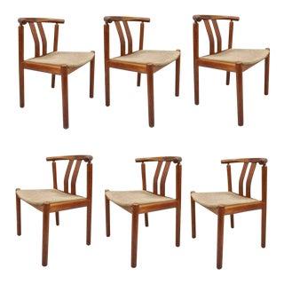 1960s Vintage Uldum Danish Modern Teak Dining Chairs Curved Back- Set of 6 For Sale