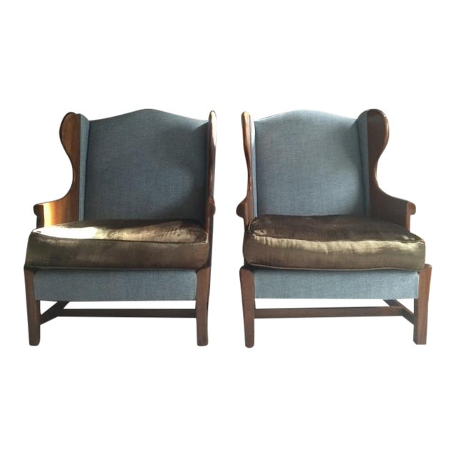 Stickley Club Wing Back Chairs - Pair For Sale