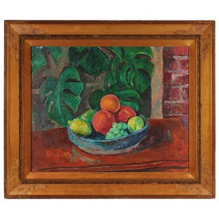 Gerald Wasserman Still Life With Fruit, Oil on Canvas, 20th Century For Sale