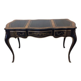 Drexel Heritage Et Cetera French Leather Gold & Black Desk
