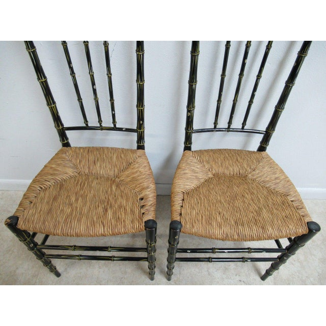 Brown Vintage Faux Painted Bamboo Rush Seat Side Chair - A Pair For Sale - Image 8 of 10