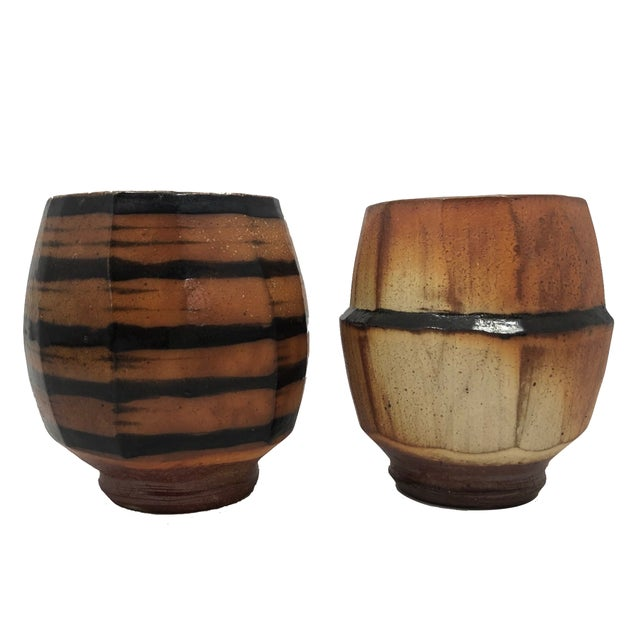 Japanese Style Faceted Yunomi Studio Pottery Cups, Marked - a Pair For Sale - Image 13 of 13