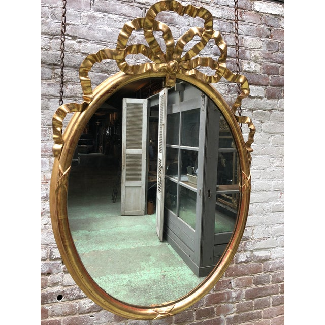 Gold Leaf 19th Century Oval Mirror For Sale - Image 7 of 9