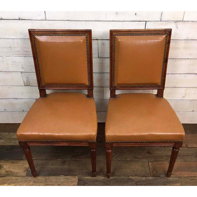 Antique Louis XVI Leather Upholstered French Country Chairs - A Pair - Image 6 of 11