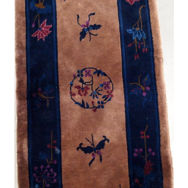 Art Deco 1920s Handmade Antique Art Deco Chinese Rug 2.2' X 6.7' For Sale - Image 3 of 9
