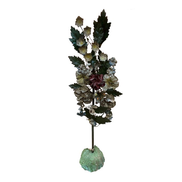 19th Century French Tole Floral Topiaries - a Pair For Sale - Image 4 of 7