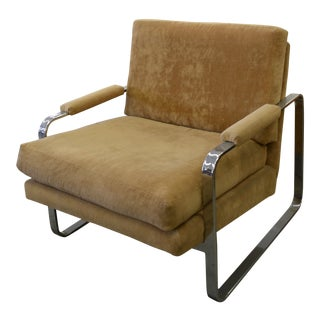 Milo Baughman Flatbar Chrome Waterfall Lounge Chair For Sale