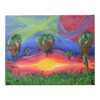 Surreal Original Painting Abstract Landscape, Jupiter Trees Glowing Aurora-Borealis on Earth Signed For Sale