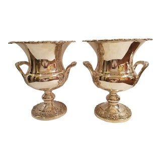 Silver Plate on Copper Queen Victoria Champagne or Wine Chillers Scroll and Grape Pattern - a Pair For Sale