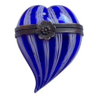 1930s Heart-Shaped Closed Glass Container For Sale