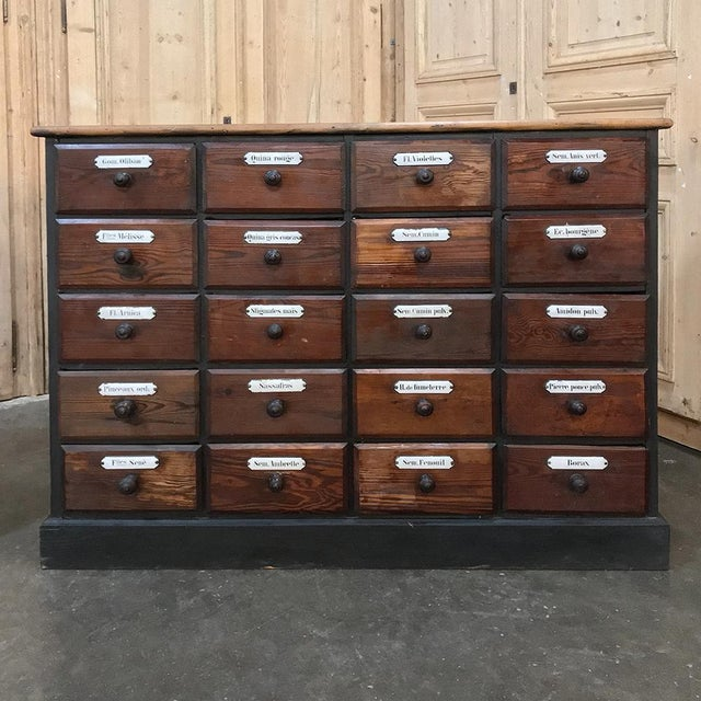 Early 19th Century Antique French Pharmacy Cabinets With Original Enamelled Labels - a Pair For Sale - Image 5 of 12