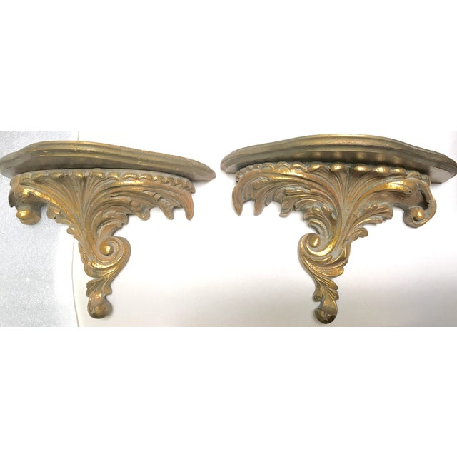 Gilt Wood Carved Italian Brackets - A Pair - Image 2 of 5