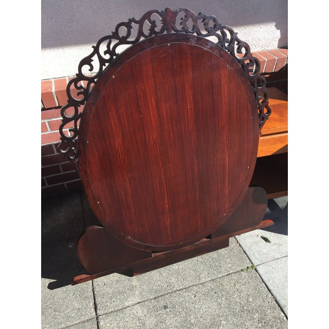 Red Carved Chinese Rosewood Vanity Dresser with Mirror For Sale - Image 8 of 11