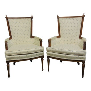 Louis XV Style Walnut Carved Armchairs - a Pair For Sale