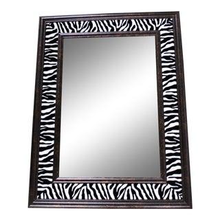 Fur Velvet Zebra Animal Print Hollywood Regency Mirror For Sale