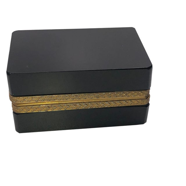 19th Century Antique 19th Century French Black Opaline Glass Casket Box For Sale - Image 5 of 7