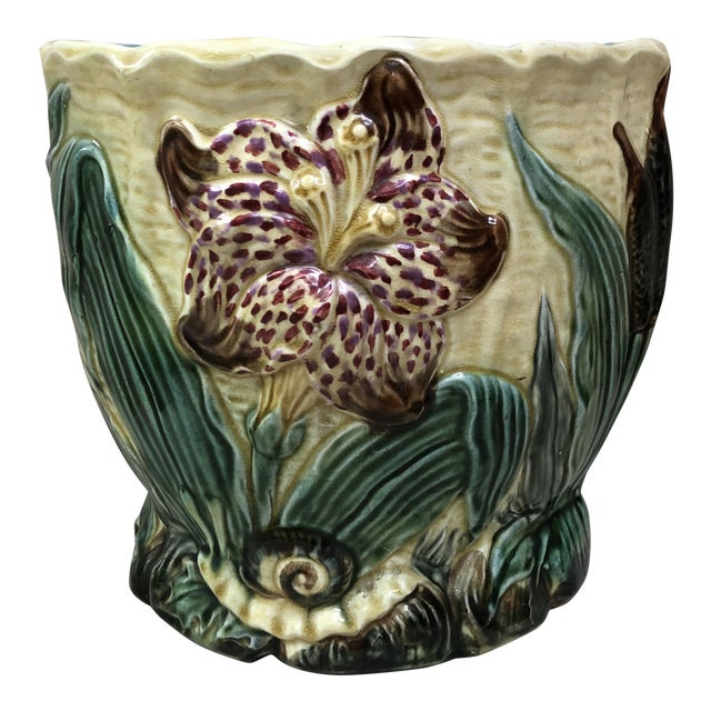 19th Century Majolica Jardinière Flower and Snail Wasmuel For Sale
