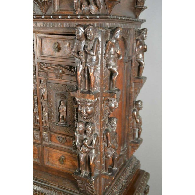 "Antique Heavily Carved Continental Court Two Piece 65"" Cabinet/Cupboard For Sale In Austin - Image 6 of 13"
