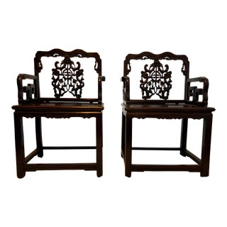 Early 20th Century Vintage Wooden Chinese Arm Chairs - a Pair For Sale