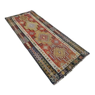 "Vintage Turkish Kilim Runner-3'11'x9'7"" For Sale"