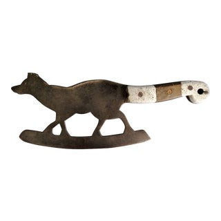 Antique French Figural Fox Cleaver, Herb Chopper For Sale