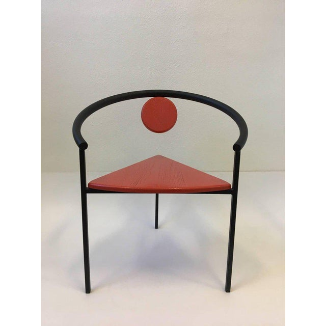 Set of Four Tripod Memphis Dining Chairs in the Manner of Michele de Lucchi For Sale - Image 9 of 11