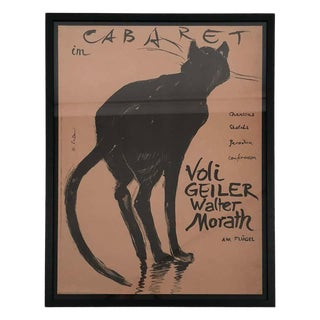 Original Hans Falk Cat Cabaret Poster, Voli Geiler, Walter Morast, 1949 For Sale