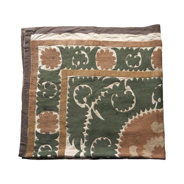 Asian Vintage Suzani Textile, Neutral Earth Tones For Sale - Image 3 of 4