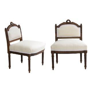 19th Century French Louis XVI Carved Accent Side Chairs - a Pair For Sale