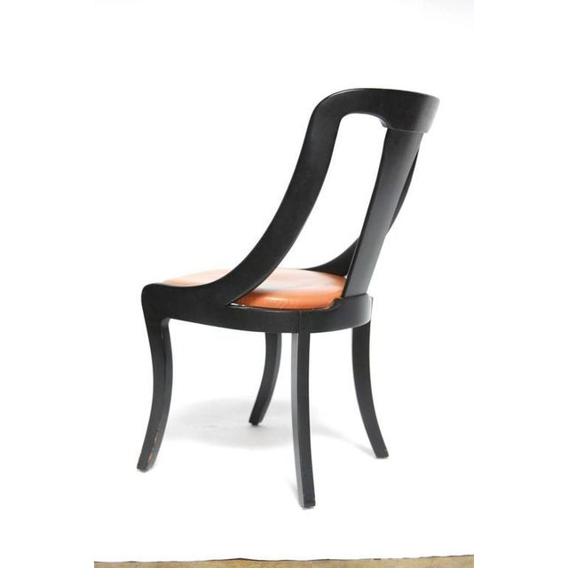 Set of Four Mid-Century Black Lacquer Dining Chairs - Image 7 of 10