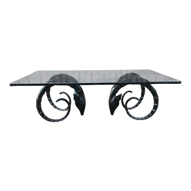 Ibex Ram Head Table In Glass And Black Lacquer - Image 1 of 7