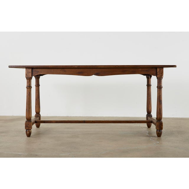 Country English Provincial Oak Farmhouse Trestle Dining Table For Sale - Image 12 of 13