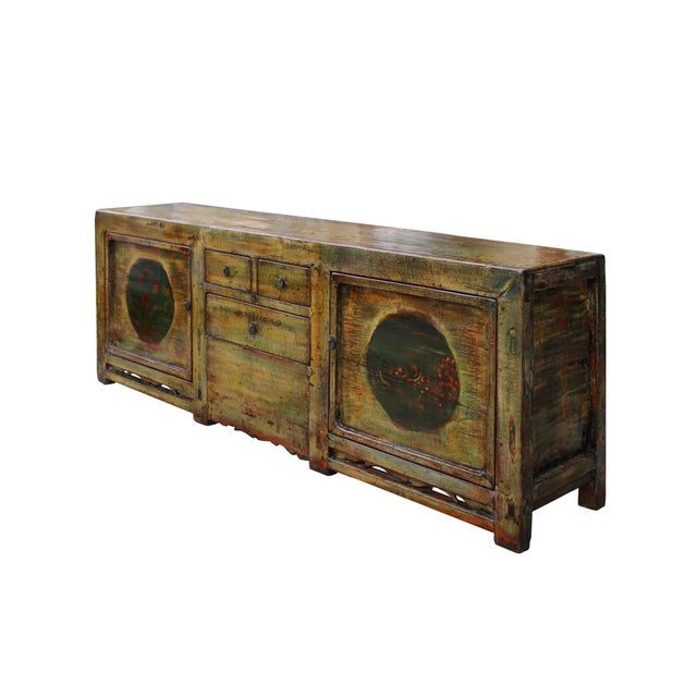 Asian Chinese Distressed Green Brown Oriental Flower Graphic Tv Console Cabinet For Sale - Image 3 of 10